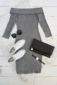 Slip on the Too Good Grey Off-the-Shoulder Sweater Dress and hit the after party in style! An off-the-shoulder neckline tops this ribbed knit dress with three-quarter sleeves. The chic midi-length hem keeps things on-trend, while a bodycon fit shows off your figure. #lovelulus