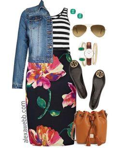 Plus Size Outfit Ideas - Plus Size Stripes and Skirts - Plus Size Fashion for Women - alexawebb,com Plus Size Fashion For Women, Plus Size Women, Plus Fashion, Womens Fashion, Fashion Ideas, Fashion Dresses, Fashion Stores, Petite Fashion, Spring Fashion