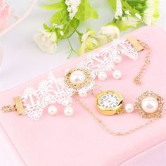 Women Wristwatch Watch Strap Ladies Belt White Pearl Bracelet With Ring Oe