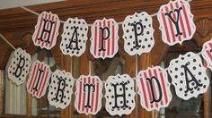 HAPPY BIRTHDAY Banner This red black & white by PartyTreats, $28.00