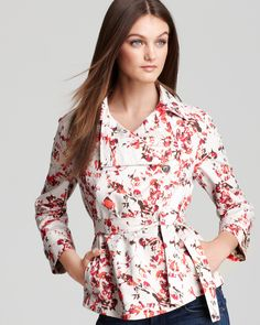 Crisp, light, animated print in bright colors on off-white.    Thakoon Addition Jacket - A Line Belted | Bloomingdale's