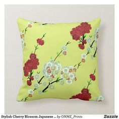 Shop Stylish Cherry Blossom Japanese Art Throw Pillow created by ONME_Prints. Japanese Culture, Japanese Art, Flower Pillow, Perfect Pillow, Felt Hearts, Custom Pillows, Cherry Blossom, Diy Bedroom Decor, Colorful Backgrounds