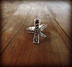 Black Diamond Ankh Eternity Ring by OuroborosDesignsLA on Etsy, $1600.00