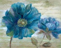 """Blue Poppy Poem I, Art Print by Nan, Large (paper size 28"""" x 22"""")"""