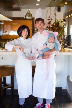 Ratatouille Movie Costume Tutorial: This family getup will really get things cooking! Put your little one in an adorable rat costume and dress the rest in chef gear to serve it up.