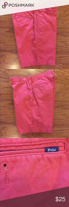 """Polo Ralph Lauren,Classic Fit Shorts Very good condition, gently worn, light red (Ralph Lauren red) or kind of a dark pink, 100% cotton material, men's size 34"""" waist and 9"""" inseam, classic fit. Great looking...classic shorts! Polo by Ralph Lauren Shorts Flat Front"""