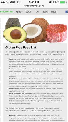 Grain brain food list/Gluten Free food list http://i-recipes.net/