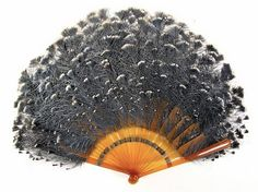 1900 Feather brise fan of grey blue goura Museum of the City of New York looks to be celluloid.
