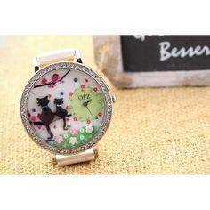 Słodki zegarek z kotem Korean Style. Kawaii!