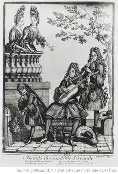 Lovers giving a Serenade (1693), engraving, French. Paris: Bibliothèque Nationale. Ref. Pottier (1992: 15, pl. III); Pottier (1995: 126, pl. 1- b&w); Archiv Moeck; Website: gallica (2012-b&w). Two ladies on a balcony are serenaded by two wigged musicians playing a baroque recorder and guitar. A maid bids us be silent. A caption reads: Ammants donnat une Sérénade Ces dames belles au balcon Ecoutant la sérénade Que ces amants sans façon Leurs donnent en amês d'aubade. Lovers giving a Serenade…