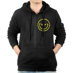 Mens Funny Emoji Evil Smiley Face ZipUp Hoodie Sweatshirt *** Click image to review more details.