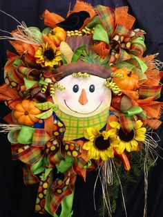 Fall Mesh Wreath by WilliamsFloral on Etsy, $99.00