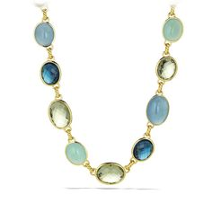 DY Signature Oval necklace with Hampton blue topaz and prasiolite.