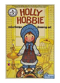 Colorform Holly Hobbie Dress Up Set. Tell your own special story with Holly hobbies and the marvelous magic of retro Colorforms. The retro Colorforms Holly hobbies play-pack invites children to explore a nostalgic, make-believe Wonderland bursting with fantastic potential. Use her pretty patchwork dresses, ruffled tops, and matching accessories to dress up Holly so she's always perfectly styled to suit her next adventure. #retro #ktfortheholidays