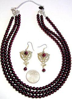SOLD-Triple Strand Rich Burgundy Beaded Necklace  | BEADEDNECKLACESHOPPE - Jewelry on ArtFire