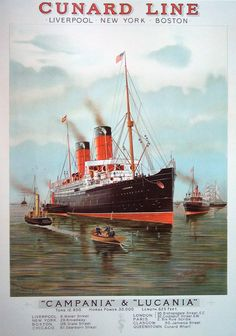 Cunard's RMS Lucania claimed the Blue Riband on August 31st, 1894. The speedy vessel took the prize away from her sister ship RMS Campania only 14 days after she had won it --- besting her by only .21 knots!   The Lucania would go on to break her own record twice more in 1894, and held the title until it was taken away by the German greyhound SS Kaiser Wilhelm der Grosse in 1894