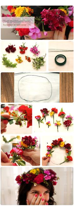 Flower crown DIY: Aside from delight in wearing a crown of flowers, it's also fun to make a crown of flowers. Follow this simple how-to and adorn yourself! Check it out on our blog Hot Tips! #sheswailacquer