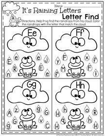 It's Raining Letters Alphabet Recognition Worksheet II