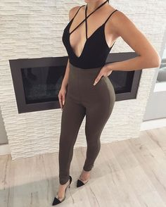 Eva ✖️ Front Bodysuit + Olive High Waisted Leggings | Also Available In Black & Nude ✔️