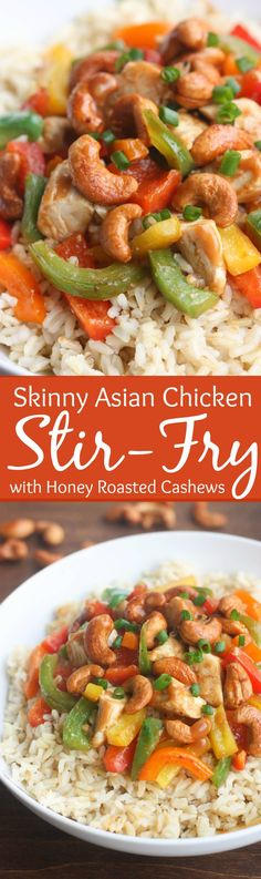 Skinny Asian Chicken Stir-Fry with Honey Roasted Cashews - an easy, healthy, flavorful meal packed with protein and veggies and served over brown rice. | Tastes Better From Scratch @collegeinnbroth #POURLOVEINN #spon