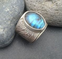 Labradorite ring delicate swirling design on wide by ElfinWorks