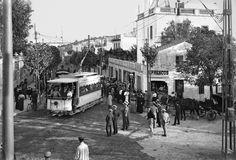 Tramvia de l'Arrabassada al seu inici a Barcelona a la cruïlla amb la carretera de Cornellà a Fogars. Barcelona, 191-. Col·lecció Roisin / IEFC