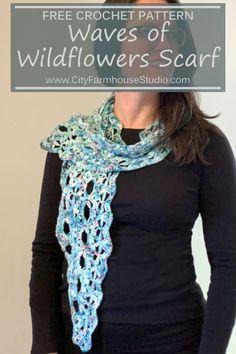 Waves of Wildflowers Crochet Scarf Pattern Knit Or Crochet, Crochet Scarves, Crochet Shawl, Free Crochet, Knit Shawls, Crochet Blankets, Easy Crochet, Crochet Triangle, Triangle Scarf