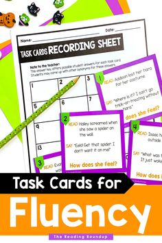 Reading fluency activities are meant to be fun! Students can use these Halloween task cards to practice expressive reading to match how the character is feeling. They will have so much fun practicing reading with expression that they won't realize they're also improving their reading comprehension! The corresponding printable Halloween themed emotions charts can be used as an anchor chart during small groups and writers workshop. #thereadingroundup #fluency #taskcards… Third Grade Reading, Student Reading, Guided Reading, Teaching Reading, Second Grade, Reading Fluency Activities, Reading Resources, Reading Comprehension, Emotion Words