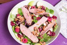 Chrumkavý šalát s kačacími prsiami, mandľami a malinami Tuna, Fish, Meat, Recipes, Pisces, Atlantic Bluefin Tuna