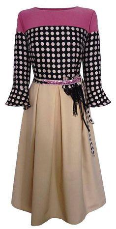 Dotted dress / Color block dress / Polka dots dress / A-line dress / Dress with pleats / Patchwork dress / Retro style dress / Formal dress