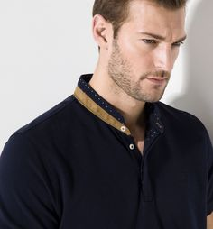 MANDARIN-COLLAR POLO SHIRT Sherwani For Men Wedding, Wedding Men, Business Casual Men, Men Casual, Kurta Style, Smart Men, Men's Polo, Polo Shirts, Mandarin Collar