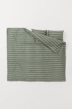 Patterned Duvet Cover Set - Dark gray/striped - Home All | H&M US