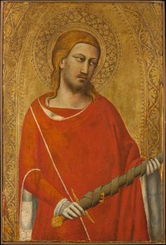 Saint Julian / San Julián (El Hospitalario) // 1340s // Taddeo Gaddi // A nobleman of the ninth century, Saint Julian is shown holding his attribute, the sword with which he accidentally slew his parents. This cut-down but otherwise well-preserved picture dates from about 1340 and belonged to a triptych for a church in Florence (Santa Maria della Croce al Tempio).