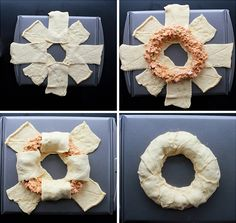 How to make a Buffalo Chicken appetizer ring. Mix filling (cooked chicken, cream cheese, buffalo sauce, chopped celery/onion) and make ring with crescent rolls.  Bake and serve with Ranch!