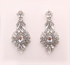 Art Deco Wedding Earrings, Chandelier Earrings, Bling Wedding jewelry, Bridal Accessory, Great Gatsby Old Hollywood