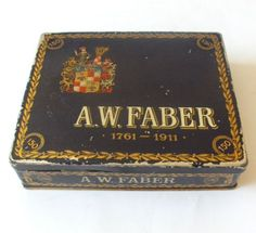 1911-ANTIQUE-A-W-FABER-PENCIL-150-years-ANNIVERSARY-ADVERTISING-TIN-CASE-BOX