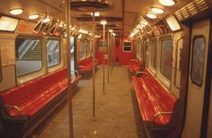 Interior of the 1963 model Red Line train. Those benches were a pain in the butt. Note the ceiling fans!