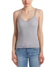 Barth Delara Tank In Grey Lace Trim Tank Top, Calypso St Barth, Basic Tank Top, Tank Tops, Grey, Cotton, Clothes, Collection, Shopping