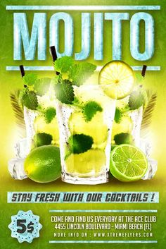 Mojito Flyer Template - http://xtremeflyers.com/mojito-flyer-template/ Mojito Flyer Template PSD was designed to advertise a cocktail promotion either for a front page of a menu.  #Cocktail, #Flyer, #Menu, #Mojito, #Party, #Poster, #Psd, #Template