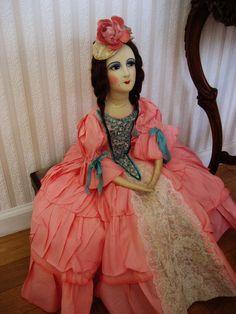 Fantastic quality vintage old DOLL DRESS & HAT for antique French boudoir doll | eBay