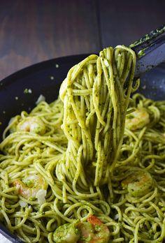Easy pesto shrimp pasta made with fresh homemade pesto and shrimp sautéed in garlic and olive oil.