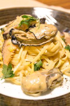 #482 牡蠣と干し椎茸と白菜のクリームパスタ【長崎】|【365日ワインのつまみ】ワインに合うおつまみレシピ