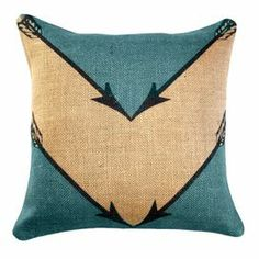 """Burlap pillow with an oversized chevron motif. Handmade in the USA.    Product: Pillow Construction Material: 100% Burlap  Color: Teal and natural  Features:   Zippered closure Handmade in the USA     Dimensions: 16"""" x 16""""     Cleaning and Care: Spot clean only"""