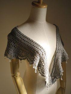 綿麻のショール(灰色国産手編み糸)の画像1枚目