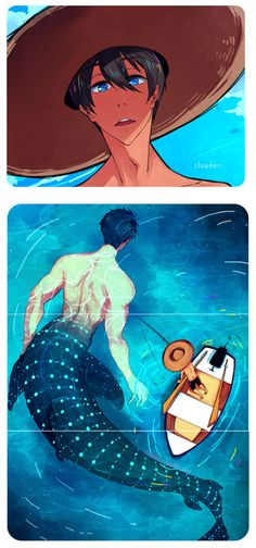 In some ancient stories, mermen are gigantic ...  Free! - Iwatobi Swim Club, free!, iwatobi, nanase, haruka nanase, haru nanase, haru, sousuke yamazaki, yamazaki, sousuke