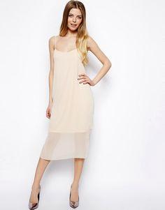 Pink chiffon sheath dress