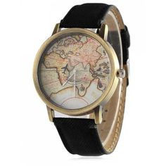 Faux Leather Map Quartz Watch Black ($30) ❤ liked on Polyvore featuring jewelry, watches, faux leather watches, quartz watches, vegan jewelry, vegan watches and quartz wrist watch