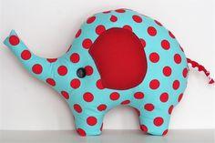 Lucky The Elephant Aqua & Red. $28.00, via Etsy. Sweet!!