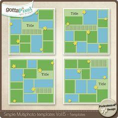 Simple Multiphoto templates Vol.15 :: Gotta Pixel Digital Scrapbook Store by PrelestnayaP Designs  $2.49