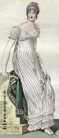 Striped dress, c. 1810